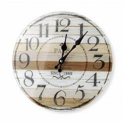 Zegar szklany okrągły 30x4cm CYFRY ARABSKIE tarcza pasy biało-brązowe