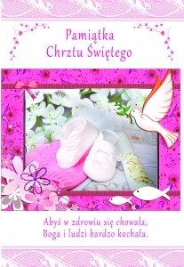 Pamiątka Chrztu Świętego ( buciki kolor róż )