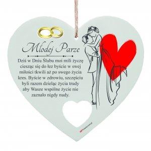 Drewniana tabliczka w kształcie serca Młodej Parze...