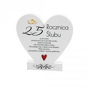 Drewniana tabliczka serce z podstawką  25 Rocznica...