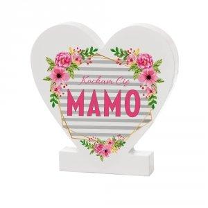 Drewniana tabliczka serce z podstawką  Kocham Cię Mamo