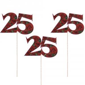 Cyfra ozdobna pik  25, komplet 3 sztuk