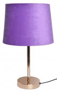 LAMPA METALOWA Z WELUROWYM LAWENDOWYM ABAŻUREM 25x25x43cm