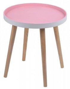 STOLIK MAŁY RÓŻOWY 38x38x41,5 CM.Stolik drewniany z różowym blatem na czterech nogach.Produkt w stylu skandynawskim do montażu.