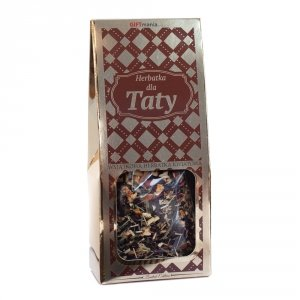 Wyjątkowa herbatka kwiatowa w złotym opakowaniu z napisem Herbatka dla Taty - wzorki
