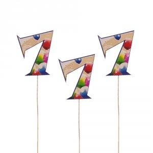 Cyfra ozdobna pik 7 balony 3szt/kpl
