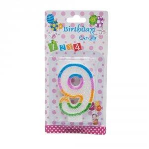 Świeczka cyferka urodzinowa z brokatem 9