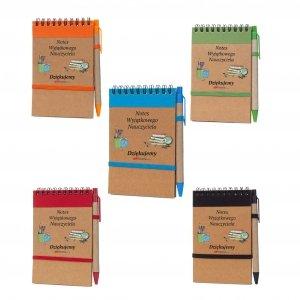 Notes i długopis eco z nadrukiem Notes Wyjątkowego Nauczyciela dziękujemy - mix kolorów
