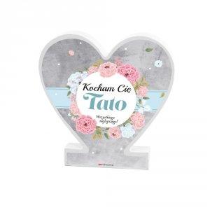 Drewniana tabliczka serce z podstawką wzbogacona lakierem UV z napisem  Kocham Cię Tato...
