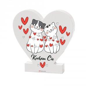 Drewniana tabliczka serce z podstawką wzbogacona lakierem UV z napisem Kocham Cię - kotki