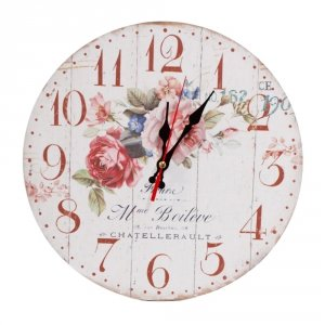 Zegar drewniany MDF - kwiaty