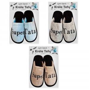 Pantofle z napisem Super Tata - mix kolorów