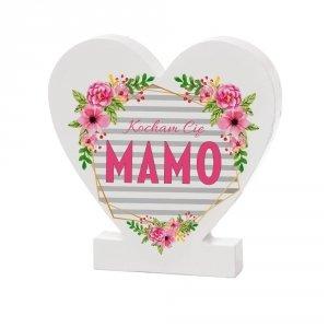 Drewniana tabliczka serce z podstawką wzbogacona lakierem UV z napisem  Kocham Cię Mamo