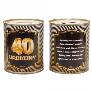 Skarbonka metalowa urodzinowa 40