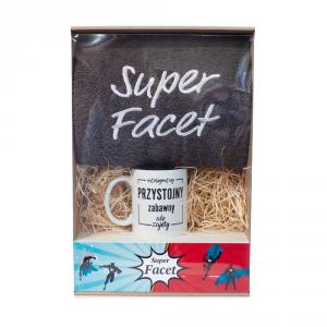 Zestaw prezentowy ręcznik i kubek Super Facet