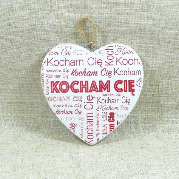 """DREWNIANA TABLICZKA WALENTYNKA 7 CM """"KOCHAM CIĘ"""""""