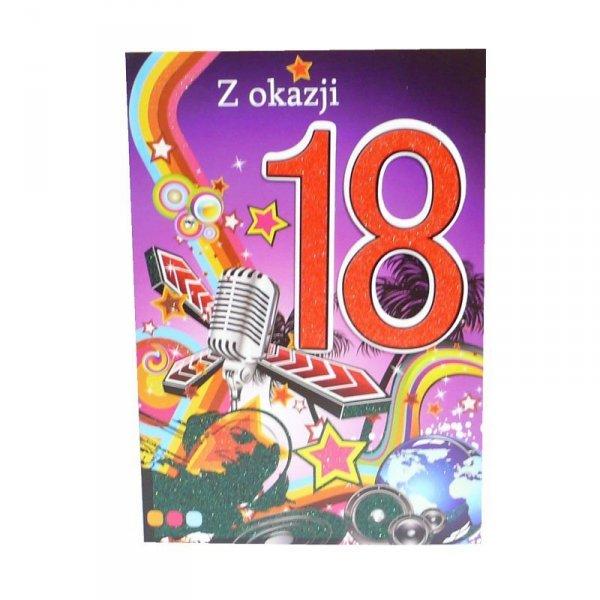 Kartka Z Okazji 18 Urodzin, kolor czerwony, muzyka