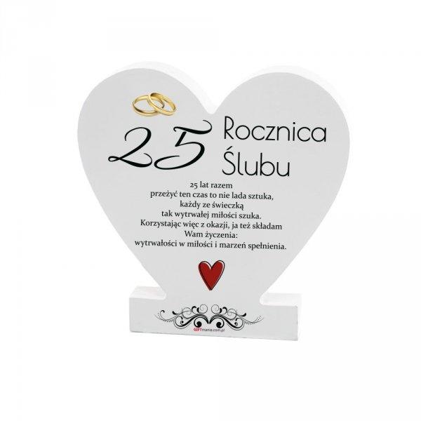 """Drewniana tabliczka serce z podstawką """" 25 Rocznica..."""""""
