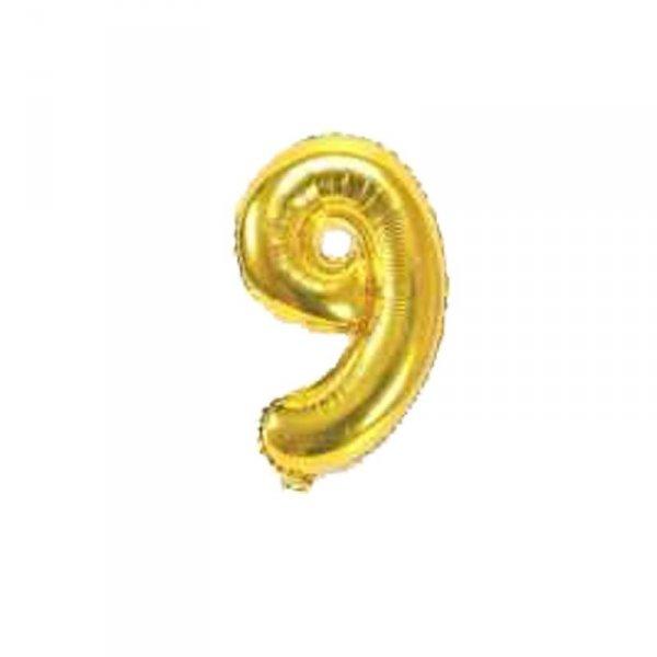 Cyfra dmuchana nr 9, złoty, 40 cm