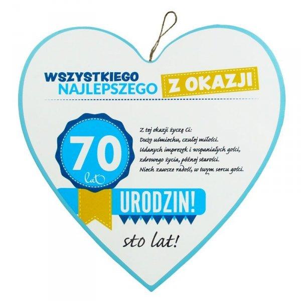 """Drewniana tabliczka 70 urodziny w kształcie serca """"Wszystkiego najlepszego z okazji 70 urodzin..."""" Biała"""