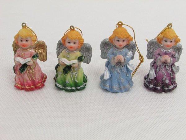 KOlorowe aniołki zawieszki, 8 sztuk