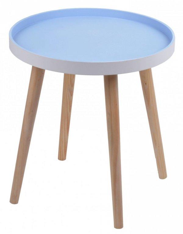 STOLIK MAŁY NIEBIESKI 38x38x41,5 CM.Stolik drewniany z niebieskim blatem na czterech nogach.Produkt w stylu skandynawskim do montażu.