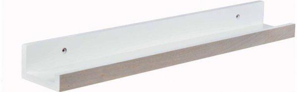 PÓŁKA PODŁUŻNA KRÓTKA.Drewniana półka w kolorze białym do montażu.Front w kolorze naturalnego drewna, lekko przecierany.