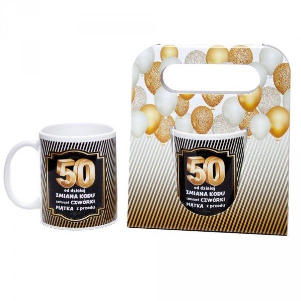 Kubek ceramiczny urodzinowy w ozdobnym opakowaniu 50