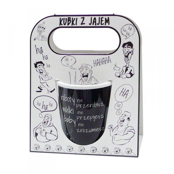 Kubek ceramiczny z napisem ' Roboty nie przerobisz..' kolor czarny ,w ozdobnym białym opakowaniu