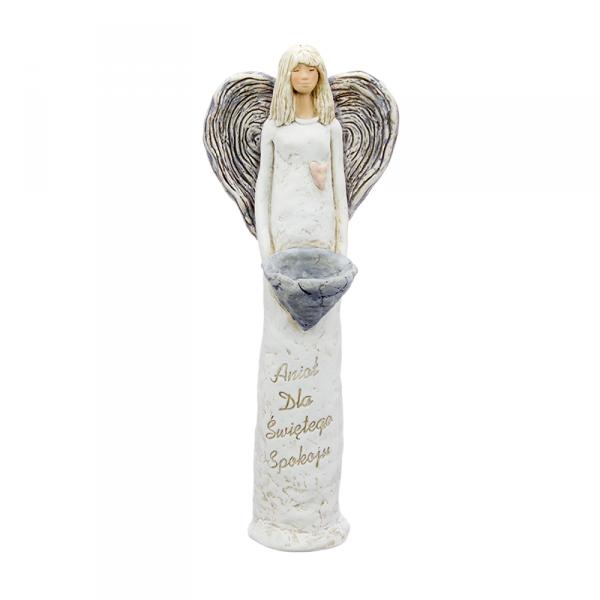 Anioł gipsowy, kolor kremowy, kremowe skrzydła, wysokość 40 cm.