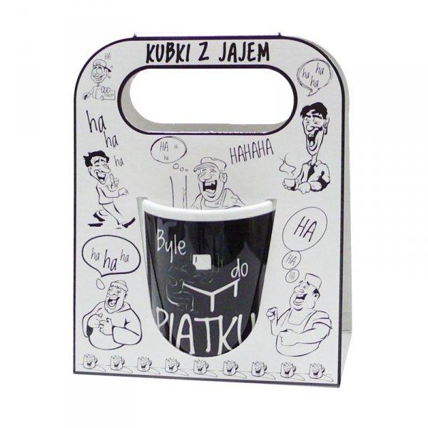 Kubek ceramiczny z napisem ' Byle do Piatku..' kolor czarny ,w ozdobnym białym opakowaniu