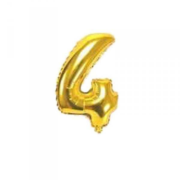 Cyfra dmuchana nr 4, złoty, 100 cm
