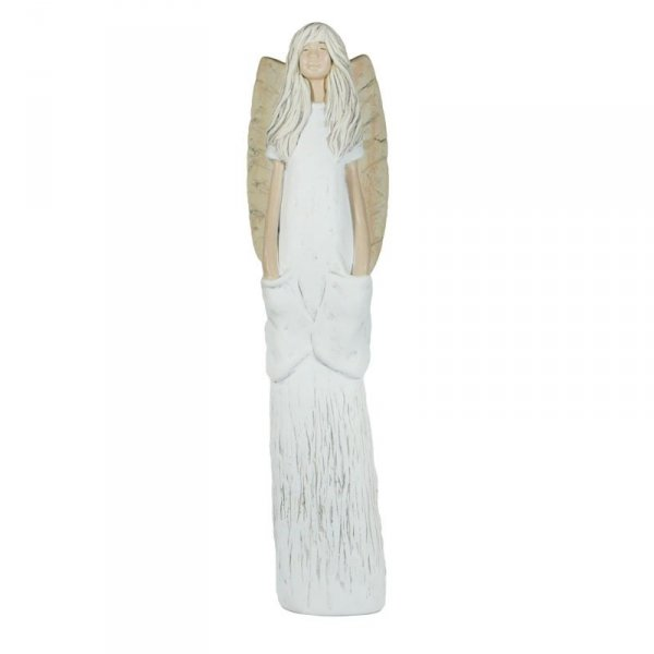 Anioł gipsowy KIESZONKOWIEC. Wysokość 40 cm.