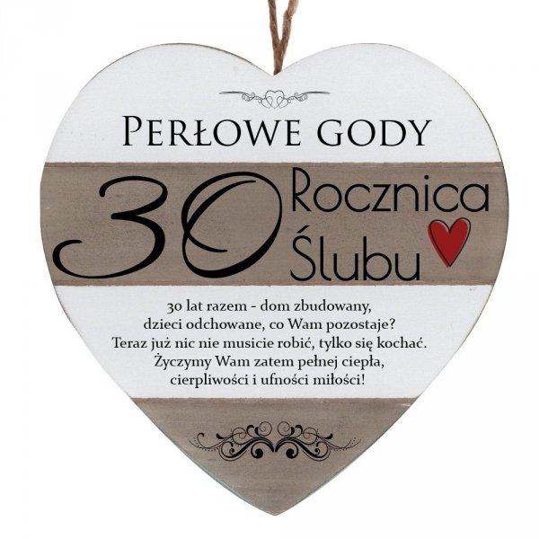"""Drewniana tabliczka w kształcie serca z napisem """" 30 rocznica ślubu..."""""""