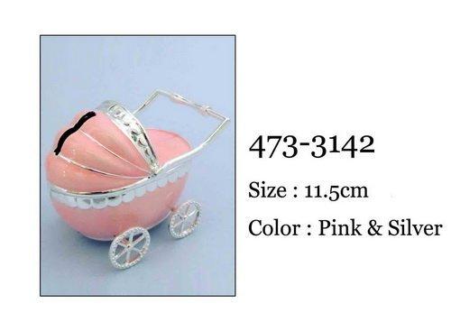 Skarbonka wózek 11,5×7,5×9 cm, róż