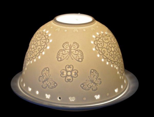 LAMPION PORCELANOWY Z MOTYLEM AŻUROWY