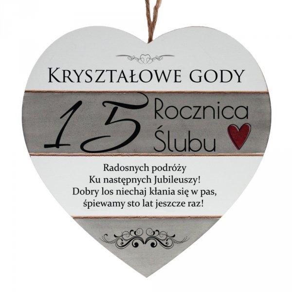"""Drewniana tabliczka w kształcie serca z napisem """" 15 rocznica ślubu..."""""""