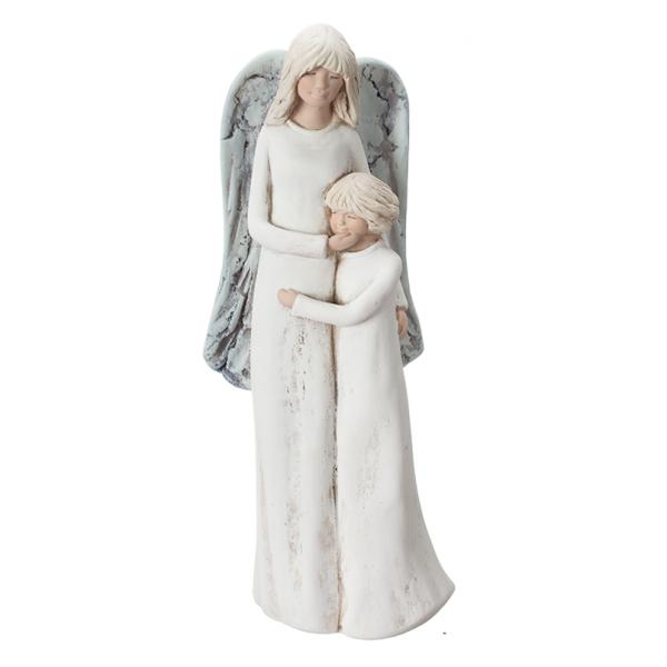 Figura gipsowa 'Anioł z dzieckiem'.Kolor anioła ecru, skrzydła niebieskie.  Rozmiar 10x30 cm